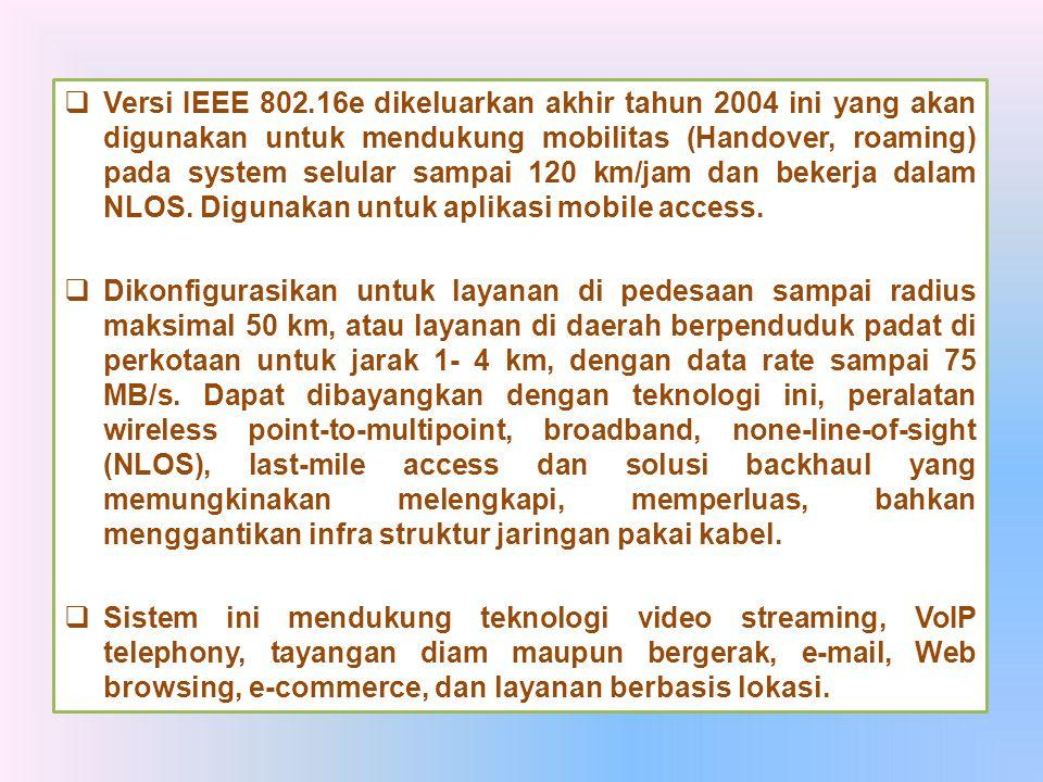 Versi IEEE 802.16e dikeluarkan akhir tahun 2004 ini yang akan digunakan untuk mendukung mobilitas (Handover, roaming) pada system selular sampai 120 km/jam dan bekerja dalam NLOS. Digunakan untuk aplikasi mobile access.