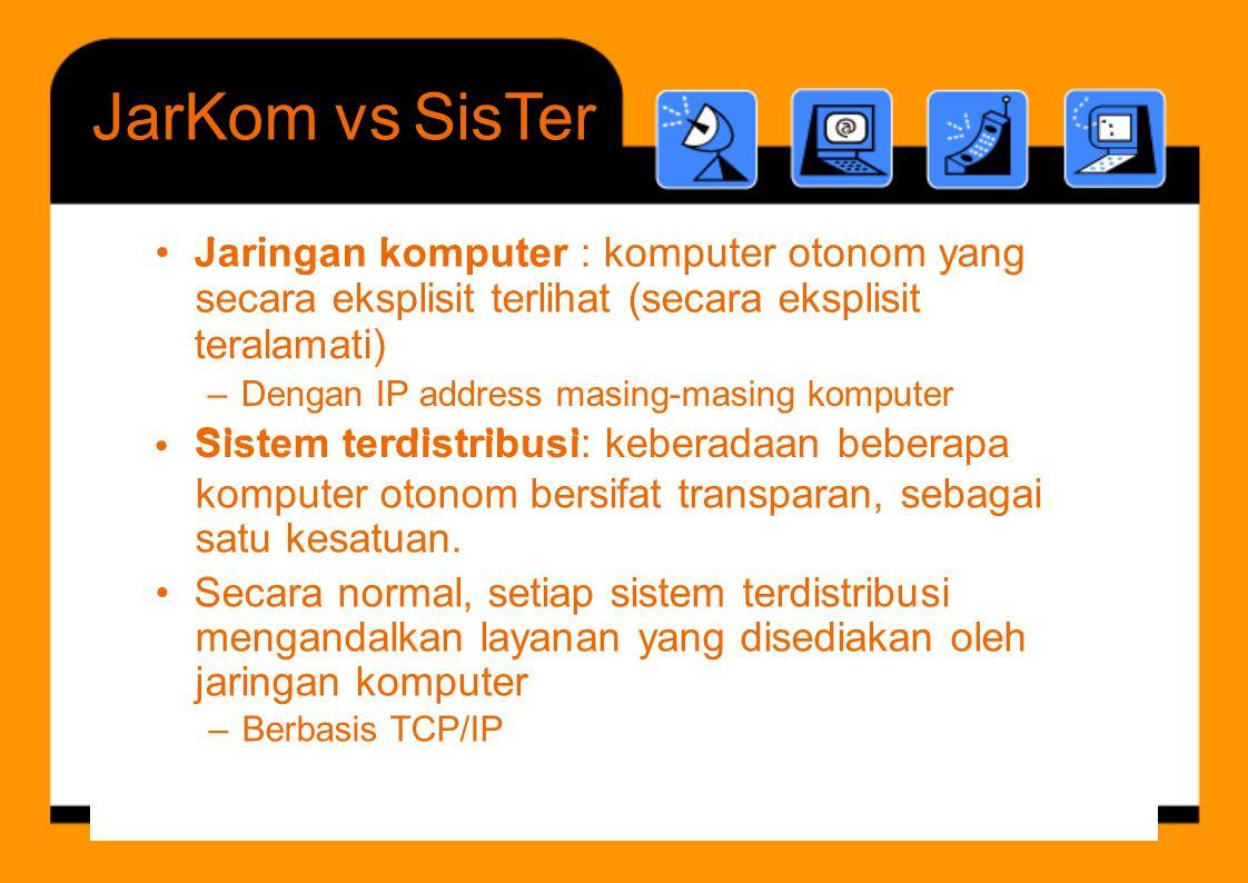 JarKom vs SisTer • Jaringan komputer : komputer otonom yang J i k t