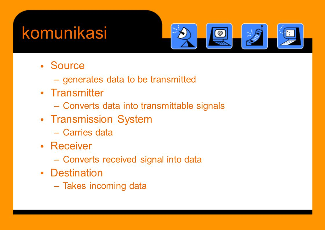 komunikasi Source • Transmitter • Transmission System Receiver • •