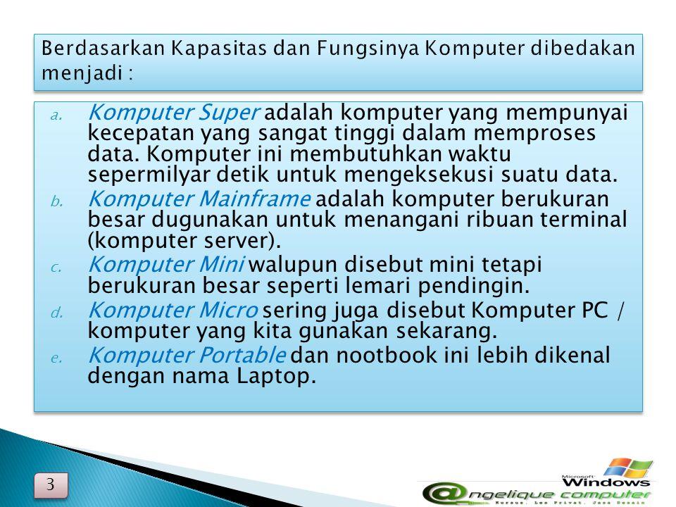 Berdasarkan Kapasitas dan Fungsinya Komputer dibedakan menjadi :