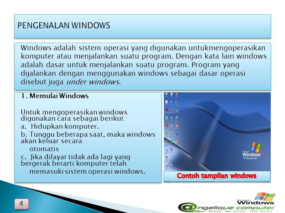 Contoh tampilan windows