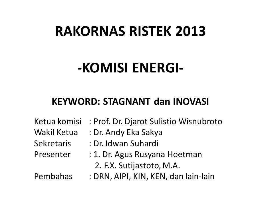 RAKORNAS RISTEK 2013 -KOMISI ENERGI- KEYWORD: STAGNANT dan INOVASI