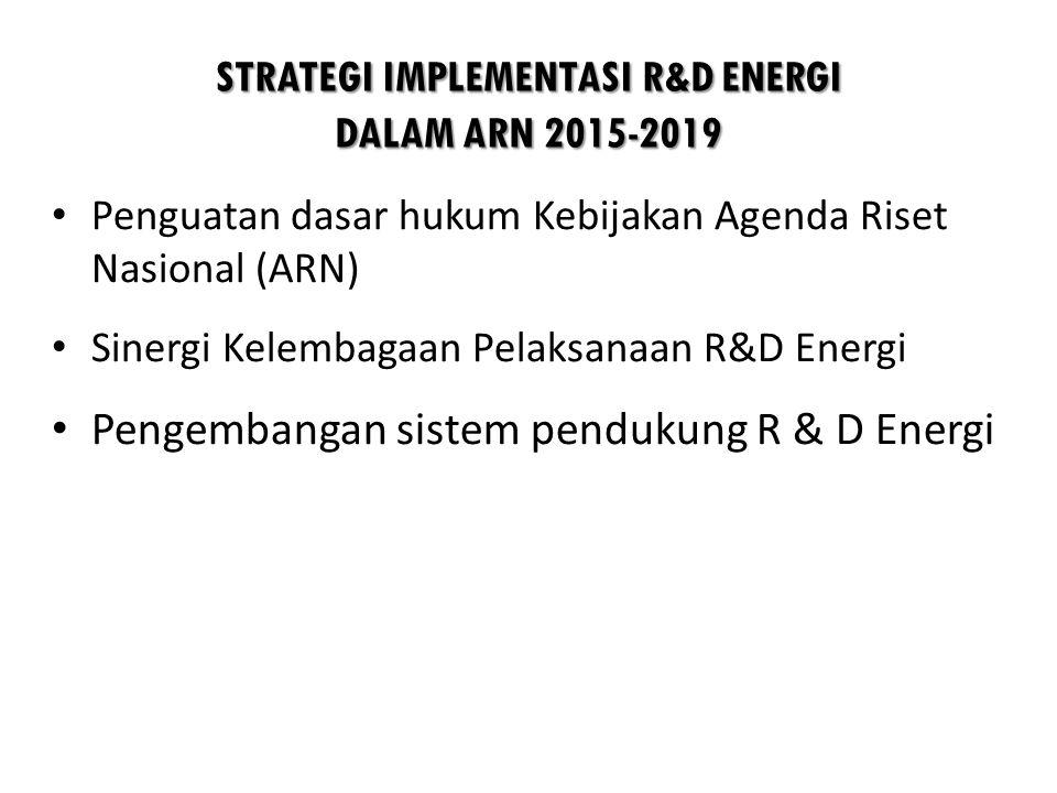 STRATEGI IMPLEMENTASI R&D ENERGI DALAM ARN 2015-2019