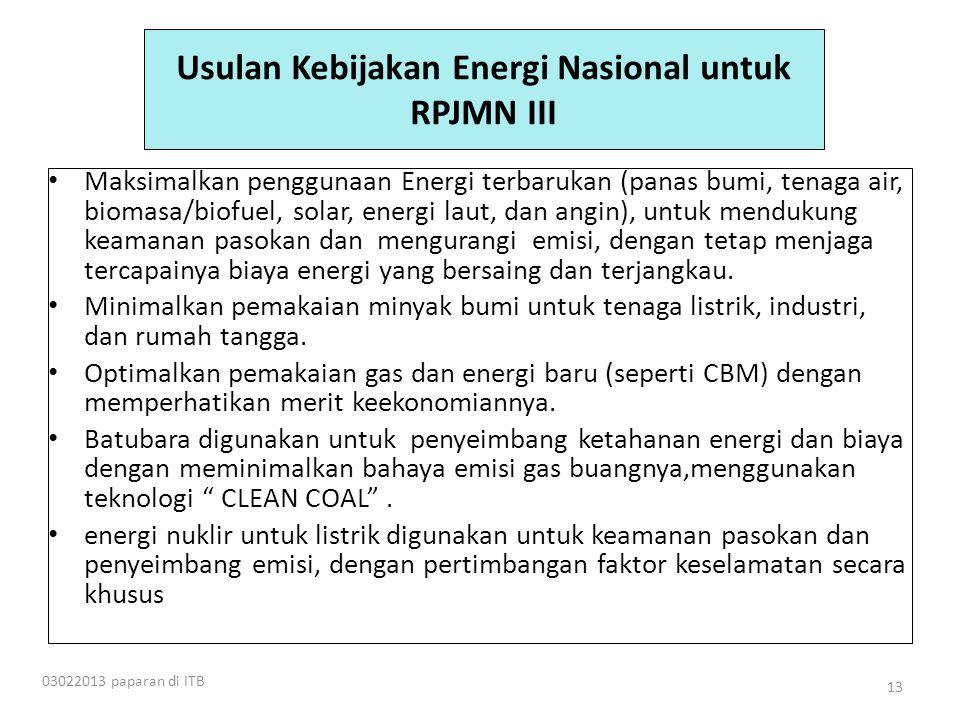 Usulan Kebijakan Energi Nasional untuk RPJMN III