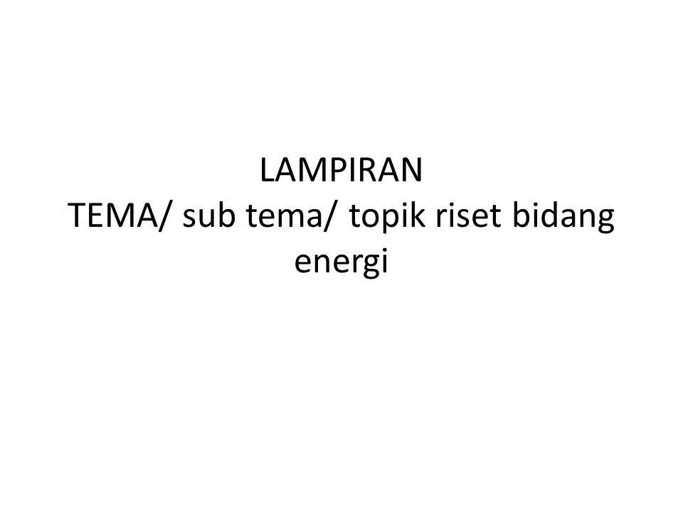 LAMPIRAN TEMA/ sub tema/ topik riset bidang energi