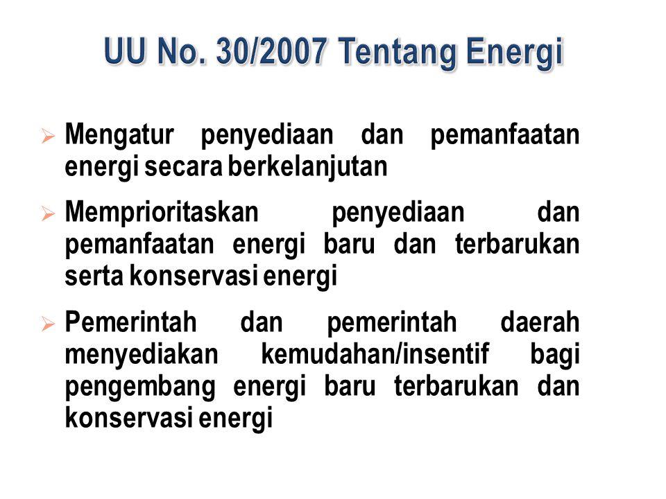 UU No. 30/2007 Tentang Energi Mengatur penyediaan dan pemanfaatan energi secara berkelanjutan.