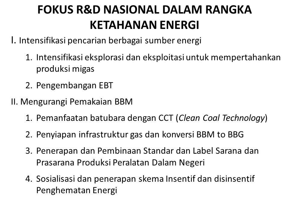FOKUS R&D NASIONAL DALAM RANGKA KETAHANAN ENERGI