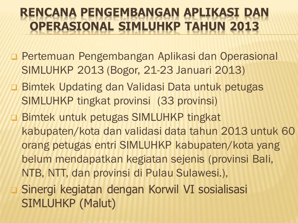 RENCANA PENGEMBANGAN APLIKASI DAN OPERASIONAL SIMLUHKP TAHUN 2013