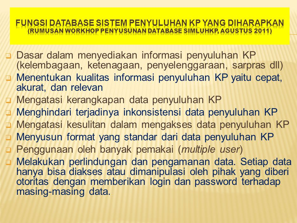 Mengatasi kerangkapan data penyuluhan KP