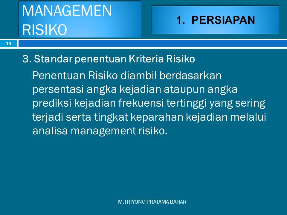 MANAGEMEN RISIKO 1. PERSIAPAN. 3. Standar penentuan Kriteria Risiko.