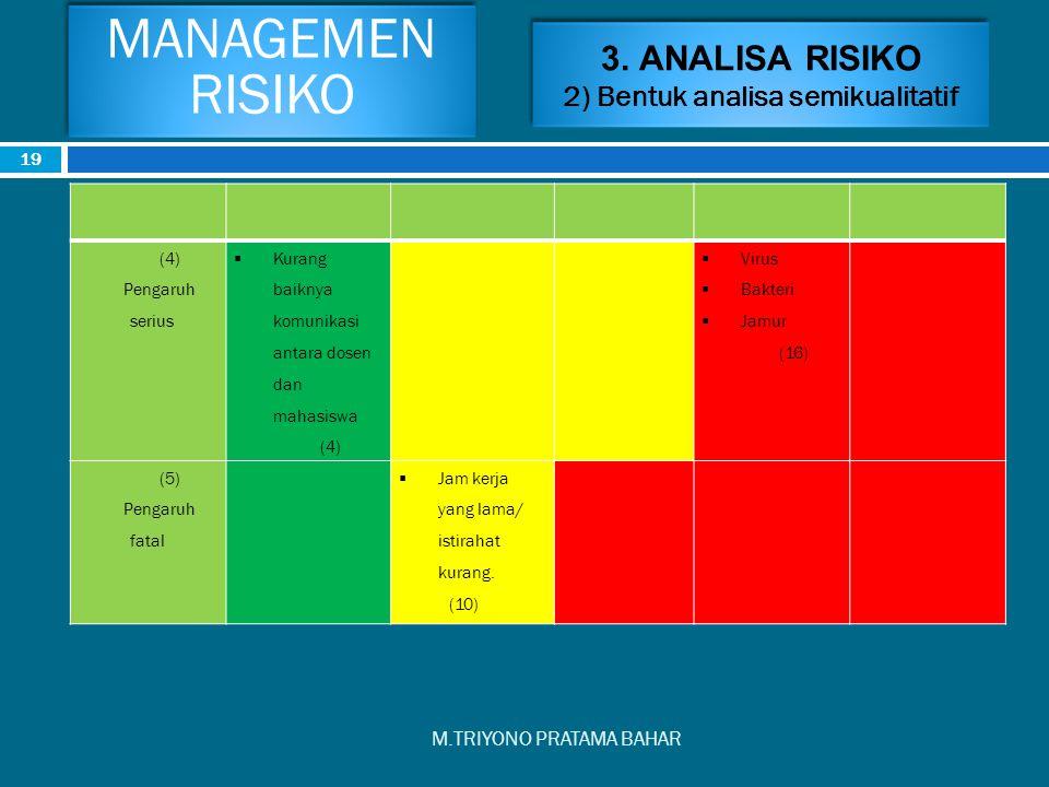 3. ANALISA RISIKO 2) Bentuk analisa semikualitatif