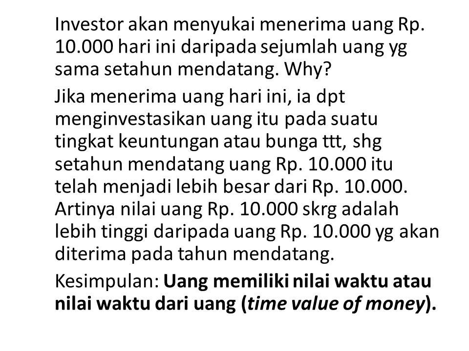 Investor akan menyukai menerima uang Rp. 10