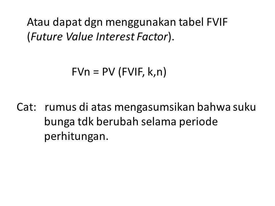 Atau dapat dgn menggunakan tabel FVIF (Future Value Interest Factor)