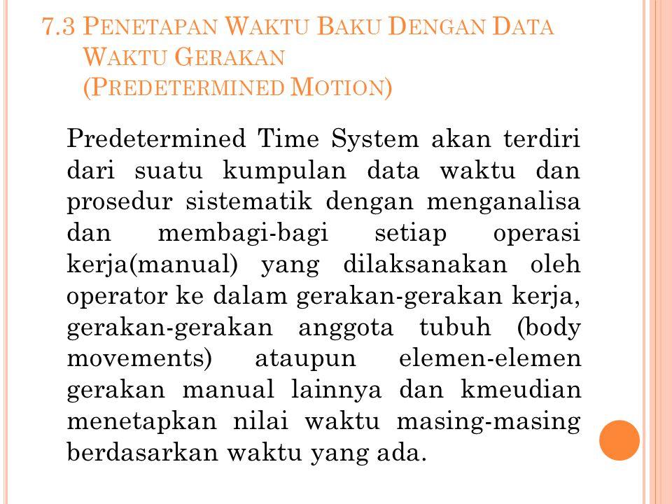 7.3 Penetapan Waktu Baku Dengan Data Waktu Gerakan (Predetermined Motion)