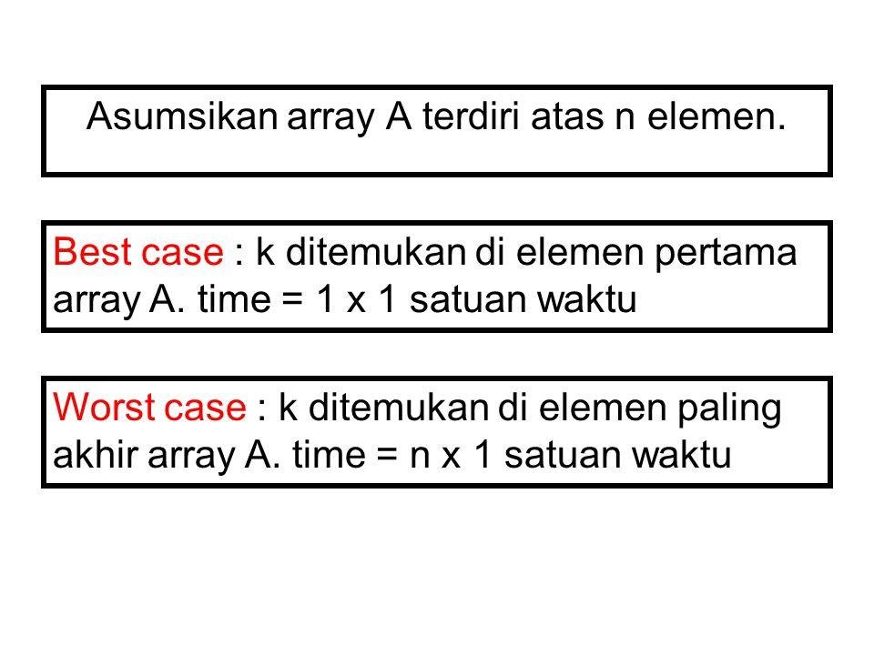Asumsikan array A terdiri atas n elemen.