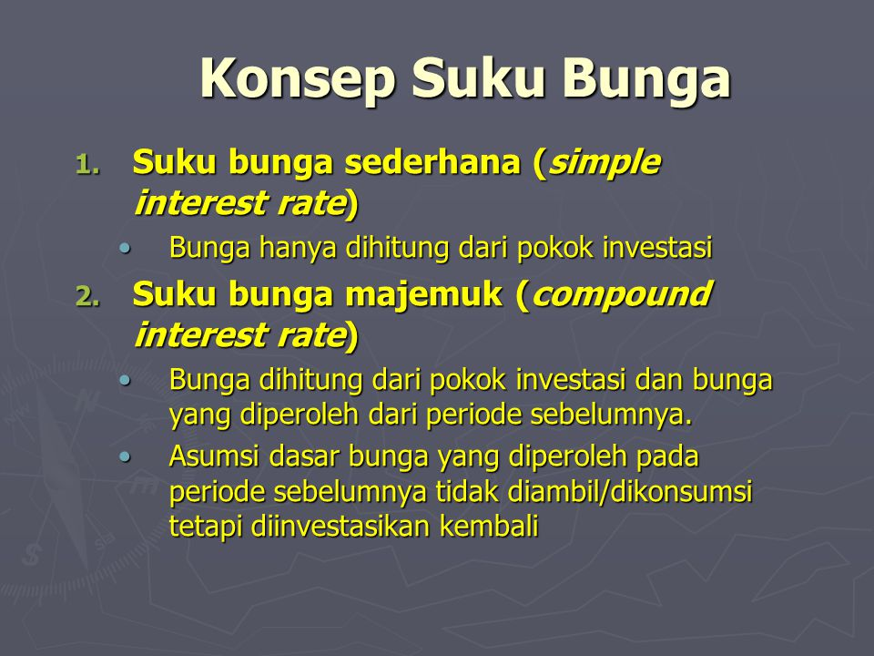 Konsep Suku Bunga Suku bunga sederhana (simple interest rate)