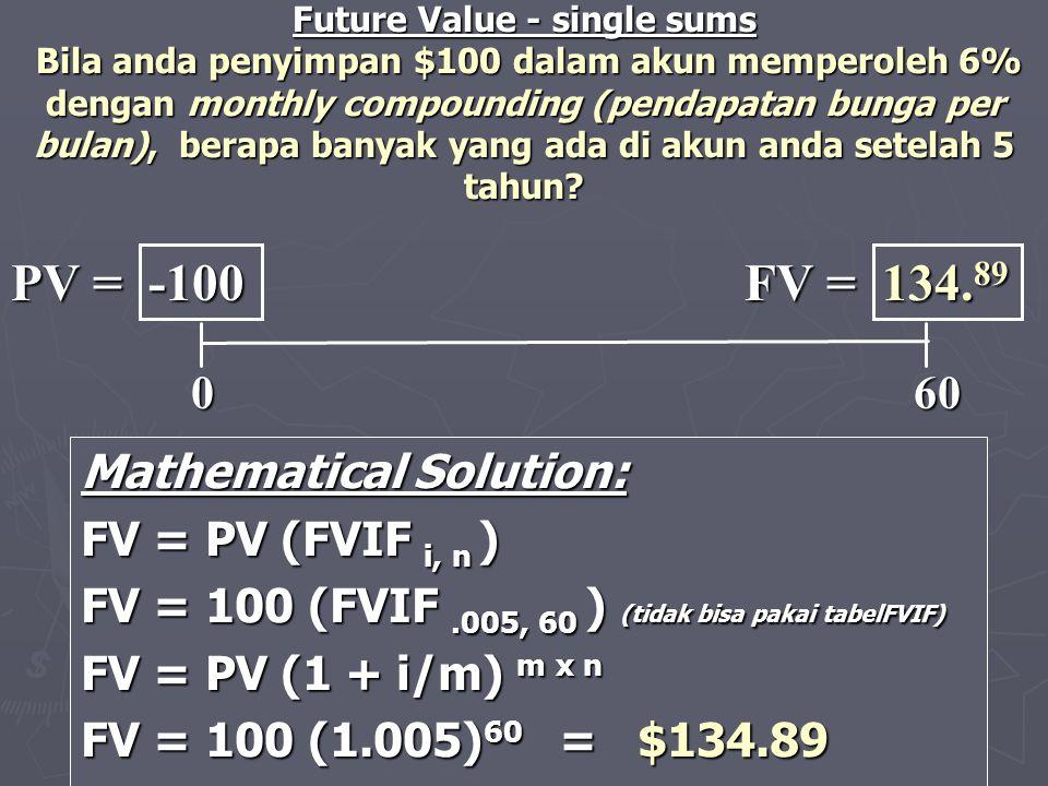 PV = -100 FV = 134.89 0 60 Mathematical Solution: FV = PV (FVIF i, n )