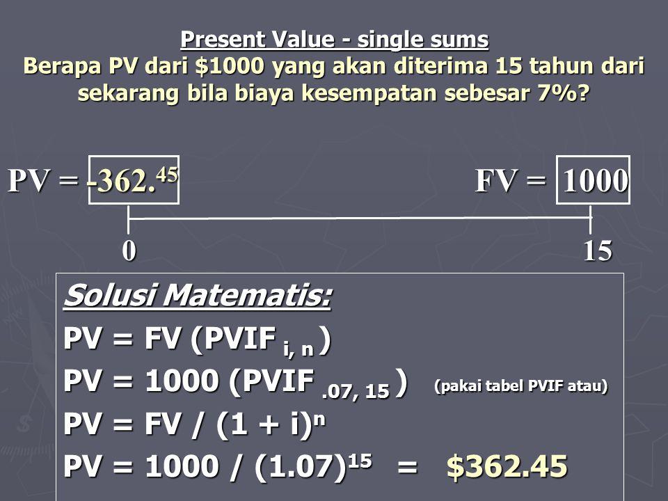 PV = -362.45 FV = 1000 0 15 Solusi Matematis: PV = FV (PVIF i, n )