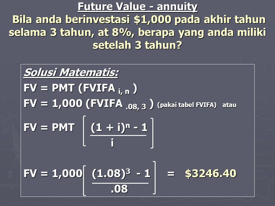 FV = 1,000 (FVIFA .08, 3 ) (pakai tabel FVIFA) atau