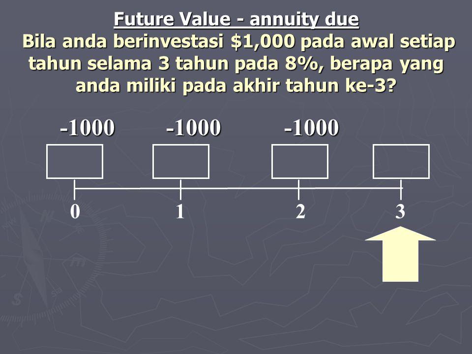 Future Value - annuity due Bila anda berinvestasi $1,000 pada awal setiap tahun selama 3 tahun pada 8%, berapa yang anda miliki pada akhir tahun ke-3