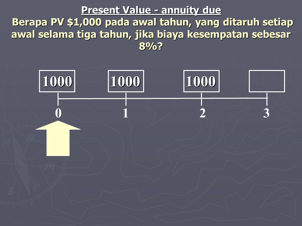 Present Value - annuity due Berapa PV $1,000 pada awal tahun, yang ditaruh setiap awal selama tiga tahun, jika biaya kesempatan sebesar 8%