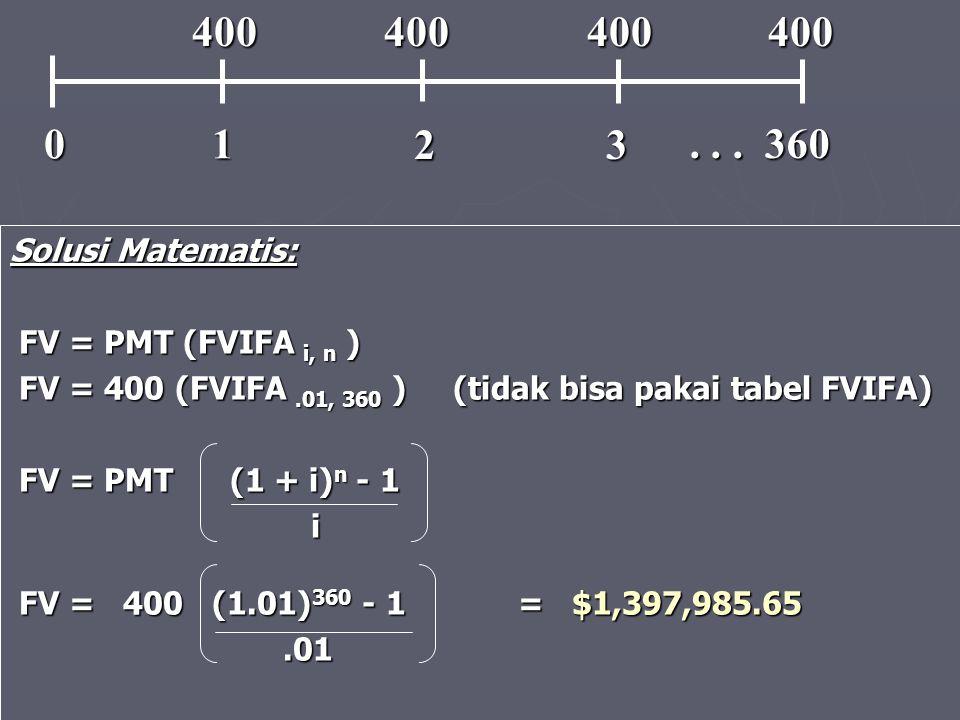 1 2. 3. . . . 360. 400 400 400 400. Solusi Matematis: FV = PMT (FVIFA i, n )