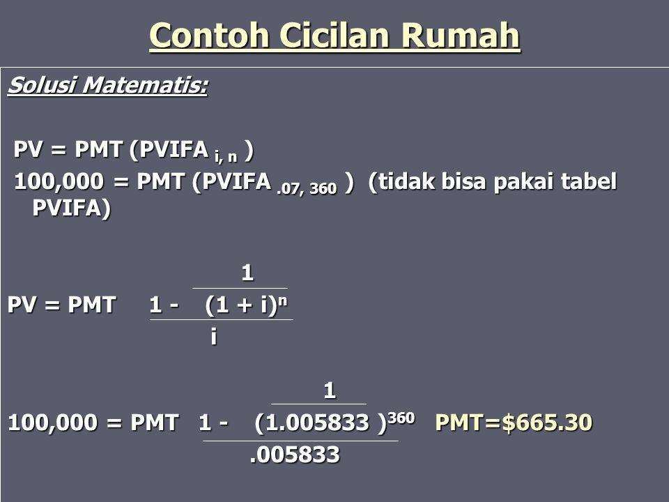Contoh Cicilan Rumah Solusi Matematis: PV = PMT (PVIFA i, n )