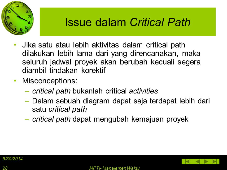 Issue dalam Critical Path