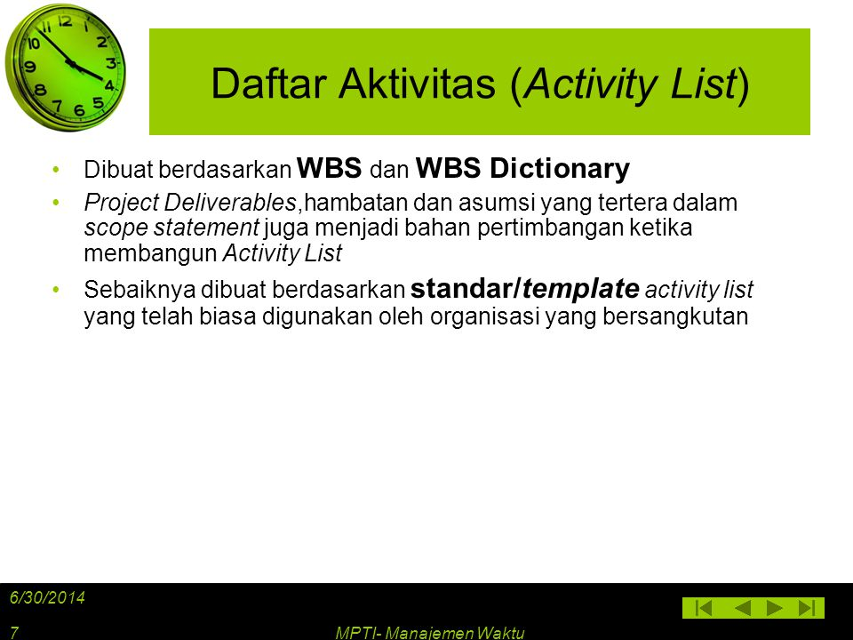 Daftar Aktivitas (Activity List)