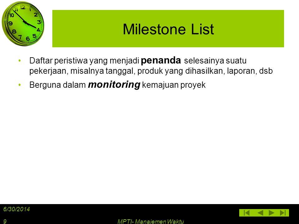 Milestone List Daftar peristiwa yang menjadi penanda selesainya suatu pekerjaan, misalnya tanggal, produk yang dihasilkan, laporan, dsb.