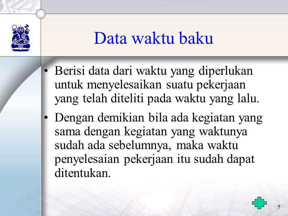 Data waktu baku Berisi data dari waktu yang diperlukan untuk menyelesaikan suatu pekerjaan yang telah diteliti pada waktu yang lalu.