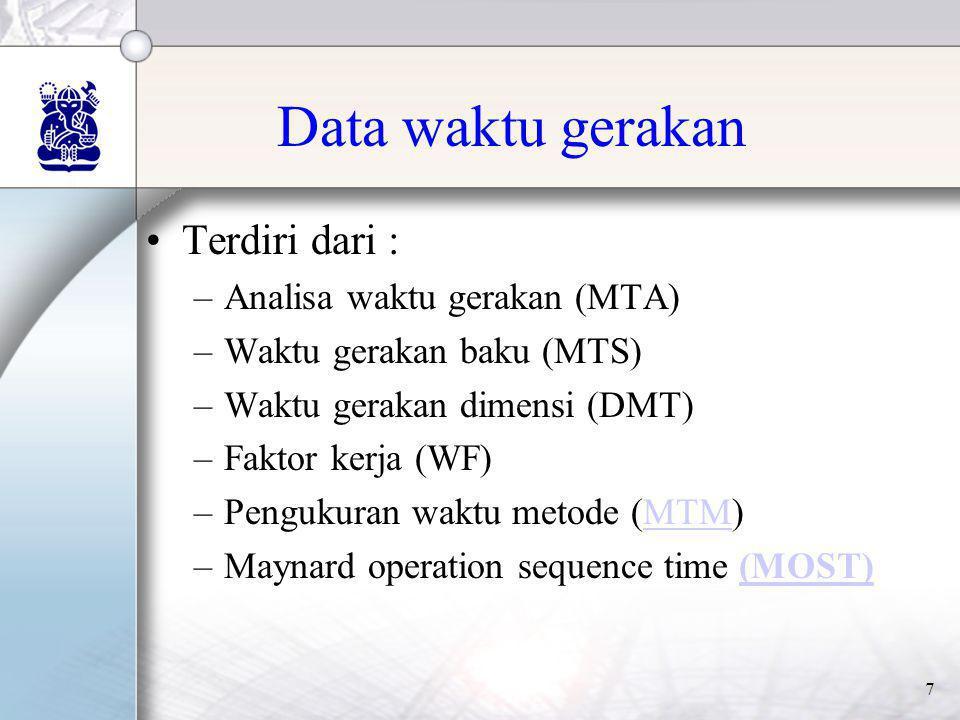 Data waktu gerakan Terdiri dari : Analisa waktu gerakan (MTA)