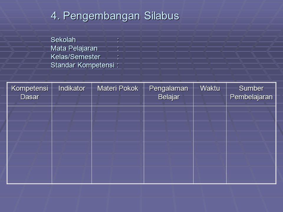 4. Pengembangan Silabus Sekolah. : Mata Pelajaran. : Kelas/Semester