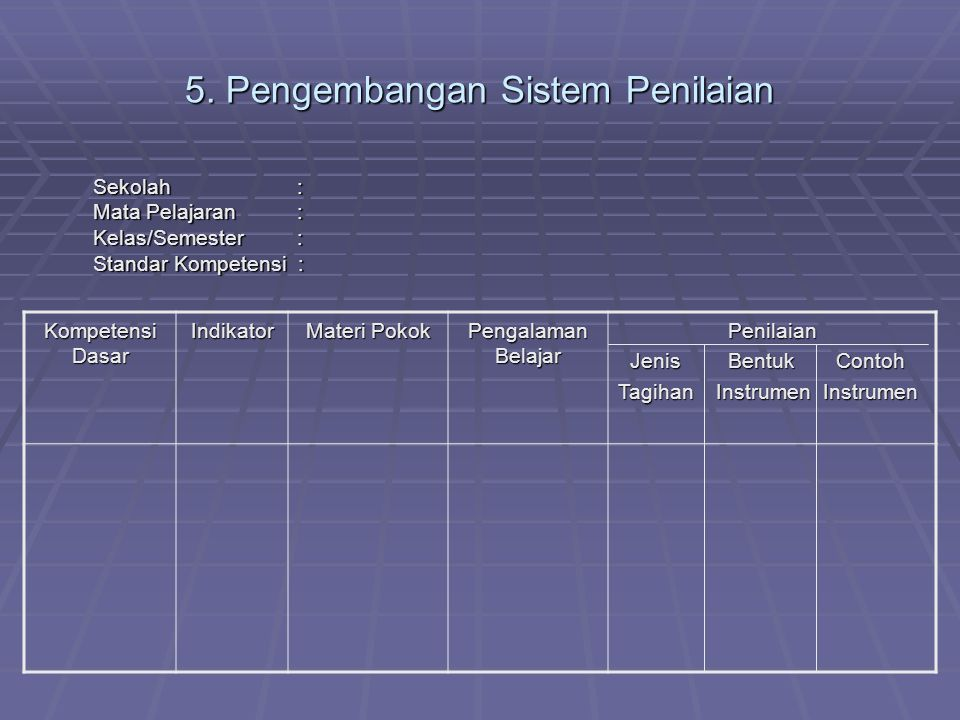 5. Pengembangan Sistem Penilaian