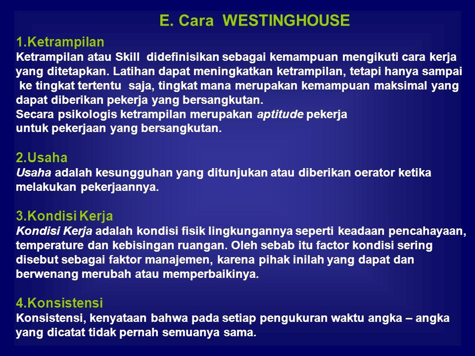 E. Cara WESTINGHOUSE 1.Ketrampilan 2.Usaha 3.Kondisi Kerja