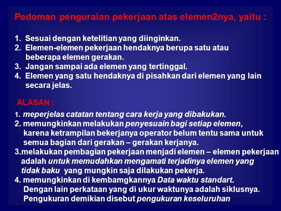 Pedoman penguraian pekerjaan atas elemen2nya, yaitu :