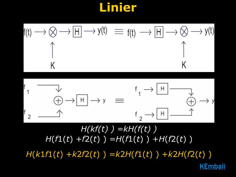 Linier H(kf(t) ) =kH(f(t) ) H(f1(t) +f2(t) ) =H(f1(t) ) +H(f2(t) ) H(k1f1(t) +k2f2(t) ) =k2H(f1(t) ) +k2H(f2(t) )