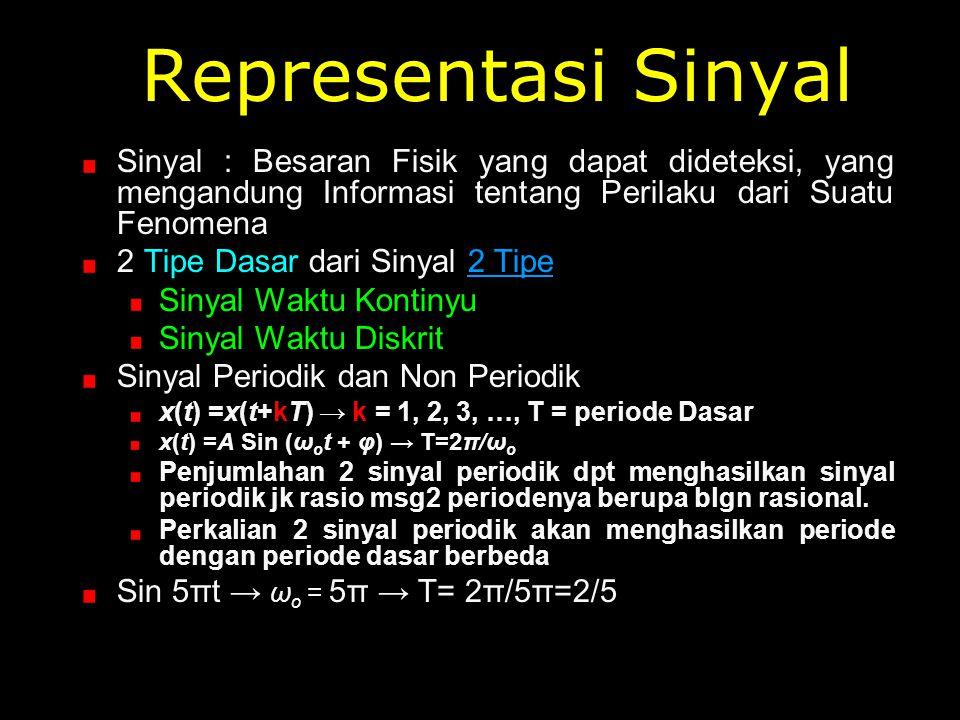 Representasi Sinyal Sinyal : Besaran Fisik yang dapat dideteksi, yang mengandung Informasi tentang Perilaku dari Suatu Fenomena.