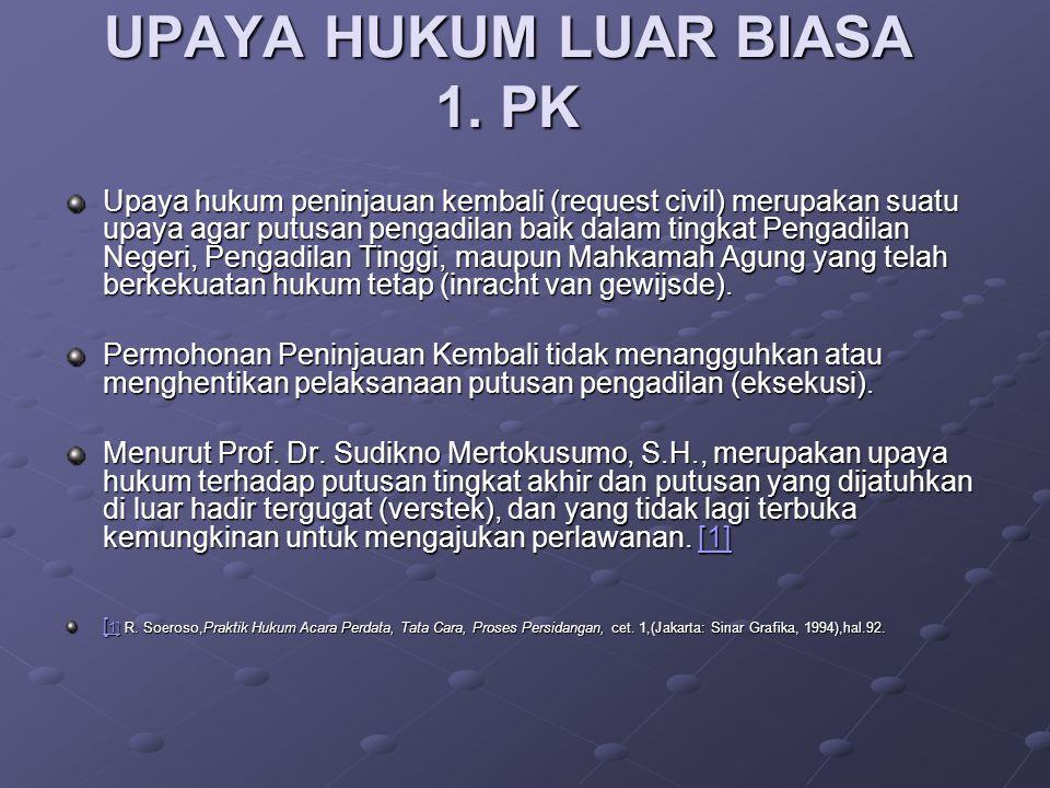 UPAYA HUKUM LUAR BIASA 1. PK