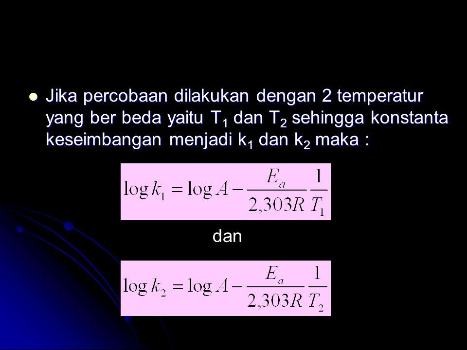 Jika percobaan dilakukan dengan 2 temperatur yang ber beda yaitu T1 dan T2 sehingga konstanta keseimbangan menjadi k1 dan k2 maka :