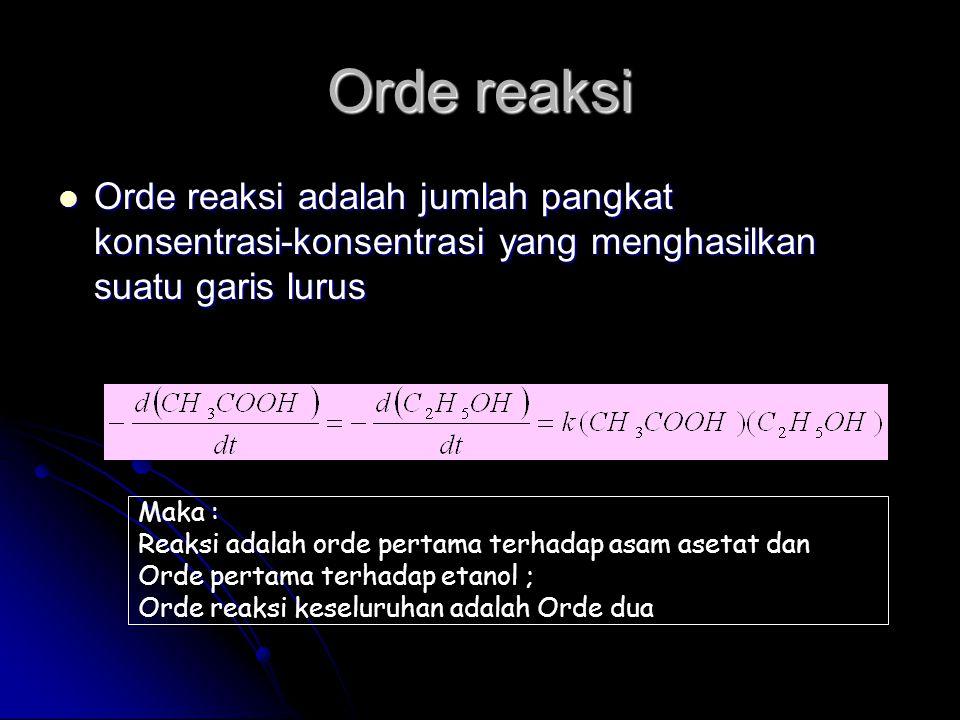 Orde reaksi Orde reaksi adalah jumlah pangkat konsentrasi-konsentrasi yang menghasilkan suatu garis lurus.