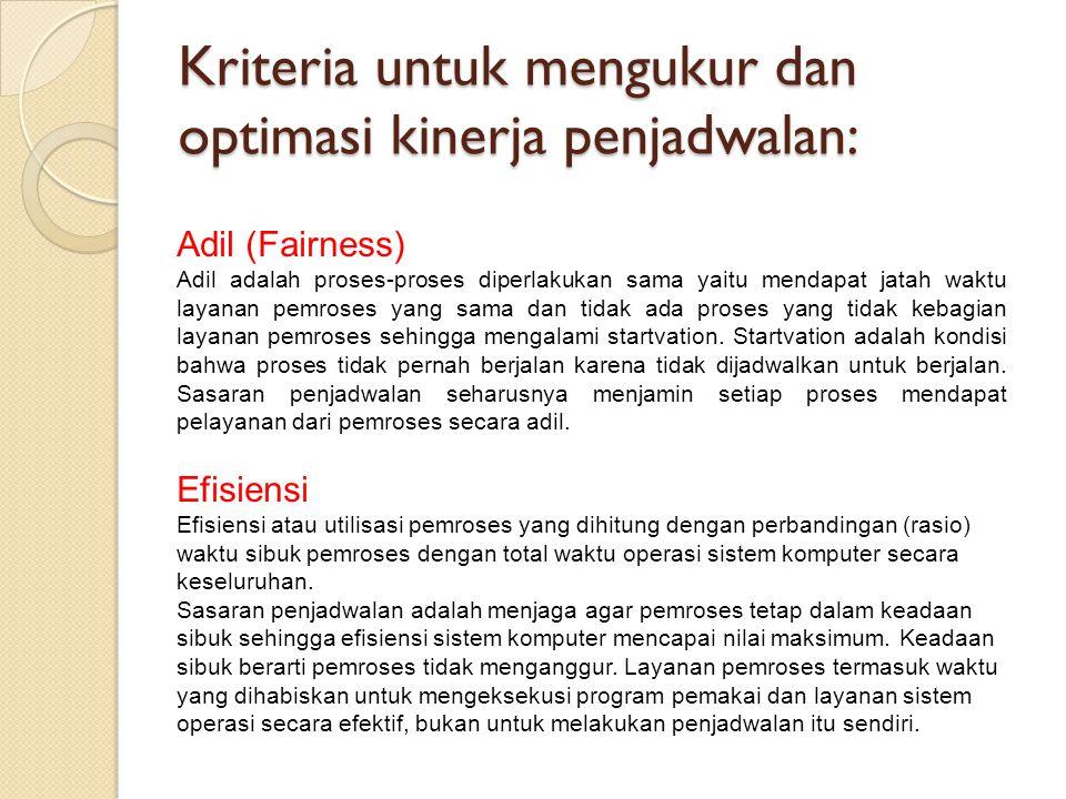 Kriteria untuk mengukur dan optimasi kinerja penjadwalan: