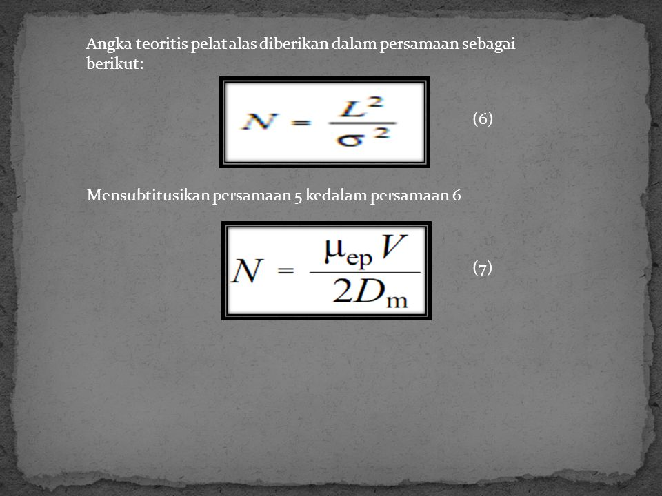 Angka teoritis pelat alas diberikan dalam persamaan sebagai berikut: