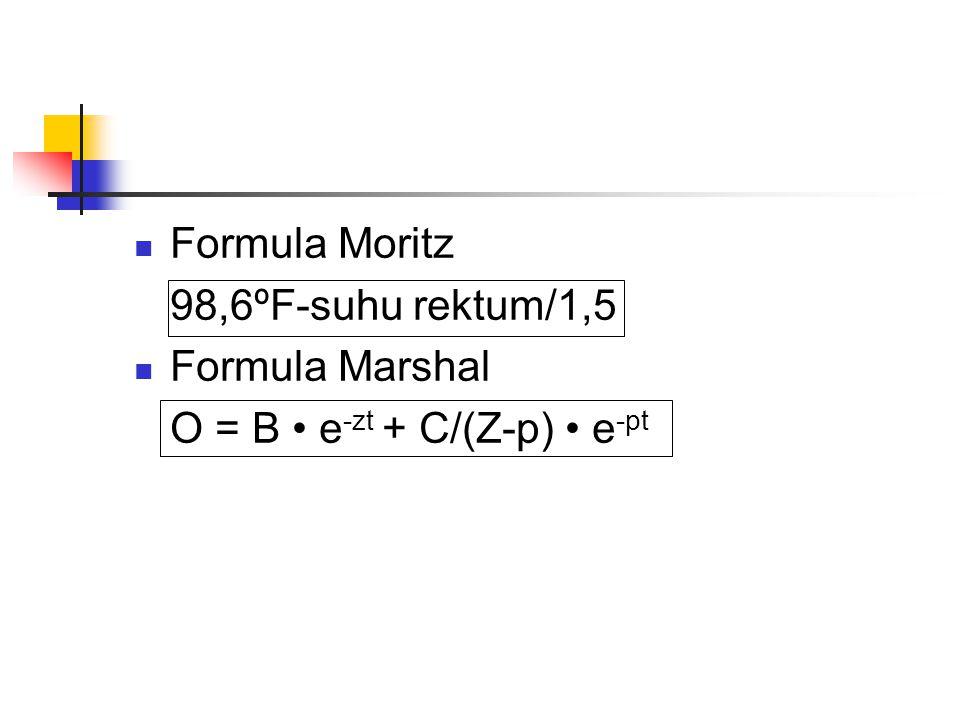 Formula Moritz 98,6ºF-suhu rektum/1,5 Formula Marshal O = B • e-zt + C/(Z-p) • e-pt