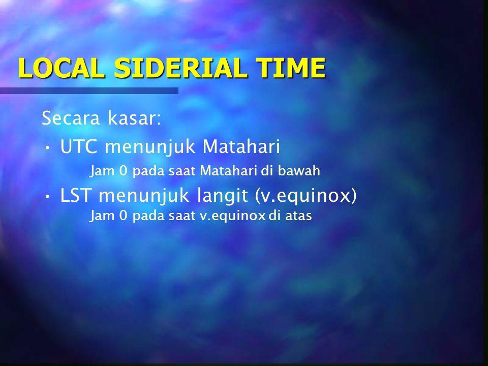 LOCAL SIDERIAL TIME Secara kasar: UTC menunjuk Matahari