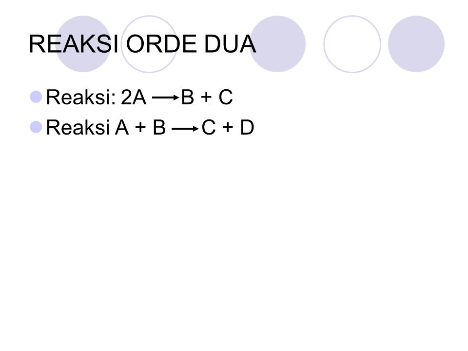 REAKSI ORDE DUA Reaksi: 2A B + C Reaksi A + B C + D