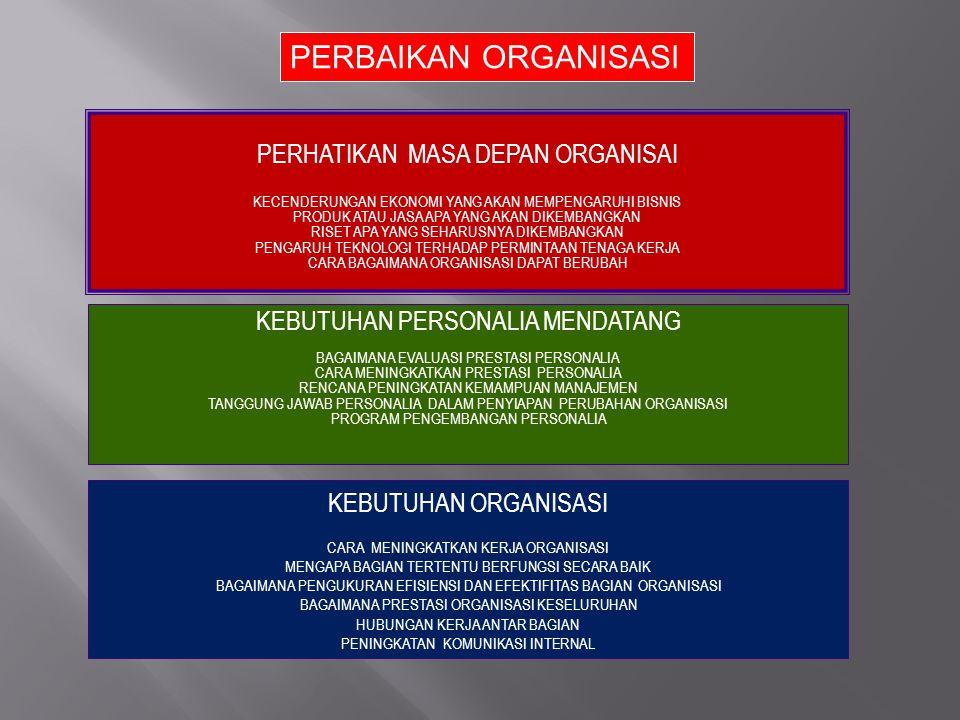 PERBAIKAN ORGANISASI PERHATIKAN MASA DEPAN ORGANISAI