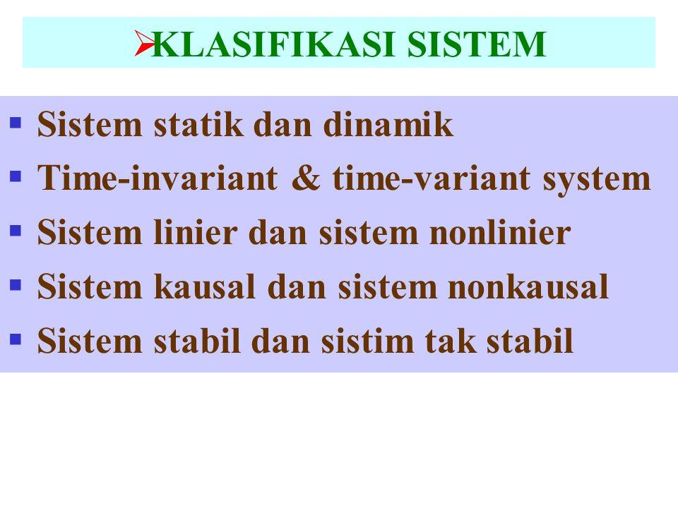 KLASIFIKASI SISTEM Sistem statik dan dinamik. Time-invariant & time-variant system. Sistem linier dan sistem nonlinier.