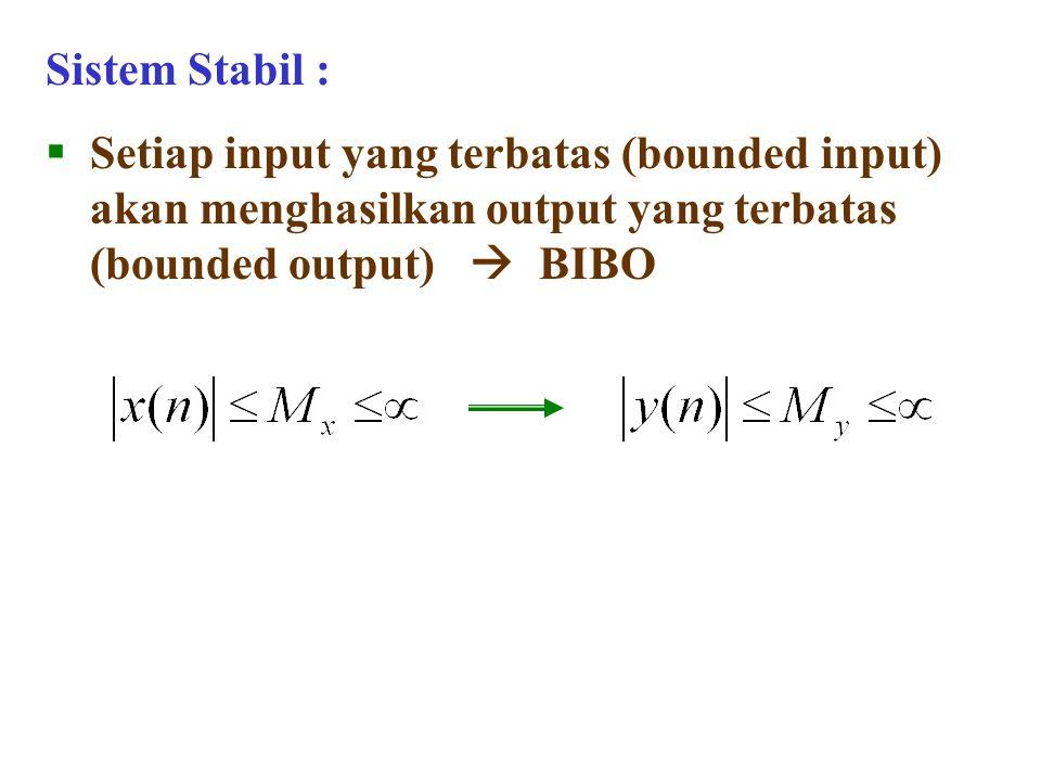 Sistem Stabil : Setiap input yang terbatas (bounded input) akan menghasilkan output yang terbatas (bounded output)  BIBO.