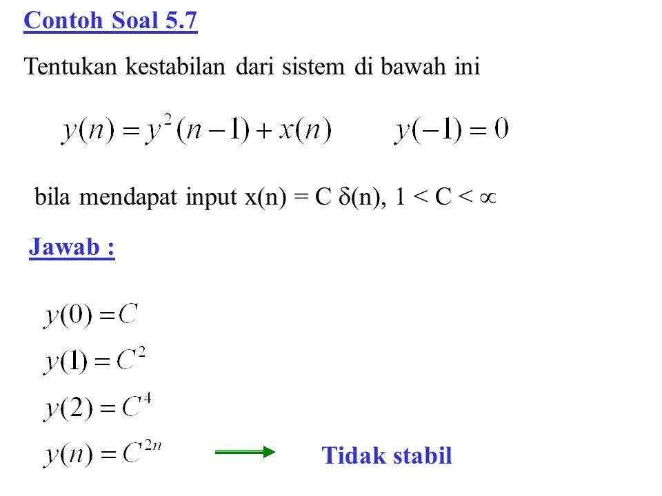 Contoh Soal 5.7 Tentukan kestabilan dari sistem di bawah ini. bila mendapat input x(n) = C (n), 1 < C < 
